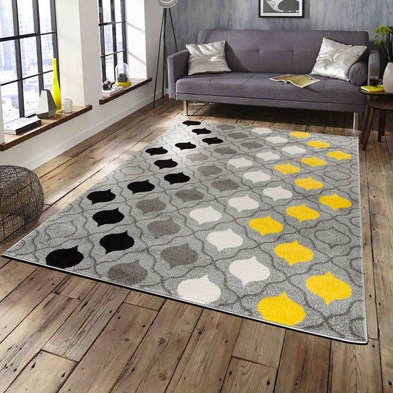5044 Gray Yellow Trellis Contemporary Area Rugs
