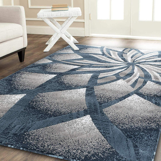 2105 Blue Abstract Contemporary Area Rugs