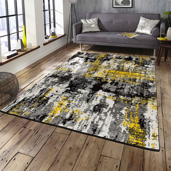 5023 Yellow Gray Distressed Contemporary Area Rugs
