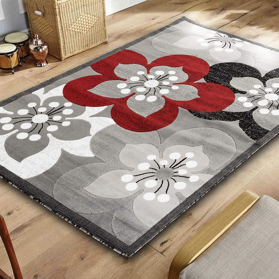 5071 Red Gray Floral Contemporary Area Rugs