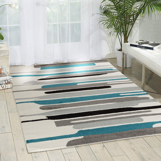 5021 Turquoise Abstract Contemporary Area Rugs