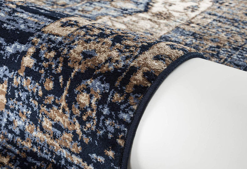 5060 Blue Farmhouse Distressed Oriental Area Rugs