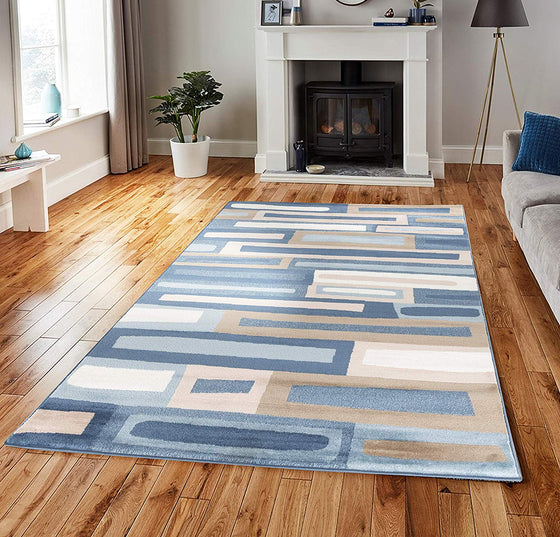 5043 Blue Beige Geometric Contemporary Area Rugs