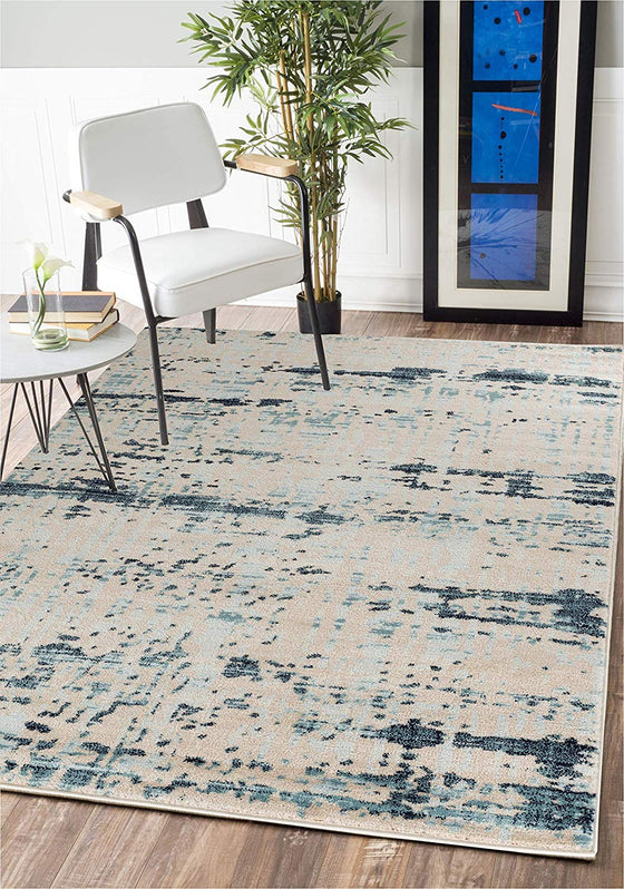 5024 Ivory Blue Distressed Contemporary Area Rugs