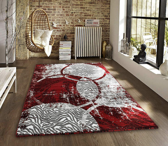 2106 Red Circles Abstract Contemporary Area Rugs
