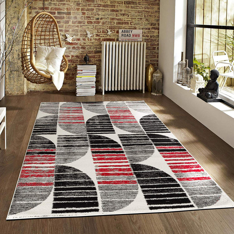 5040 Gray Black Red Contemporary Area Rugs