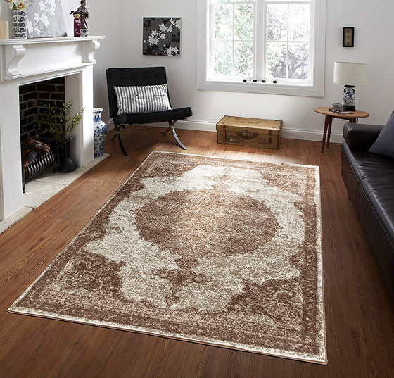 5057 Brown Bronze Medallion Distressed Oriental Area Rugs