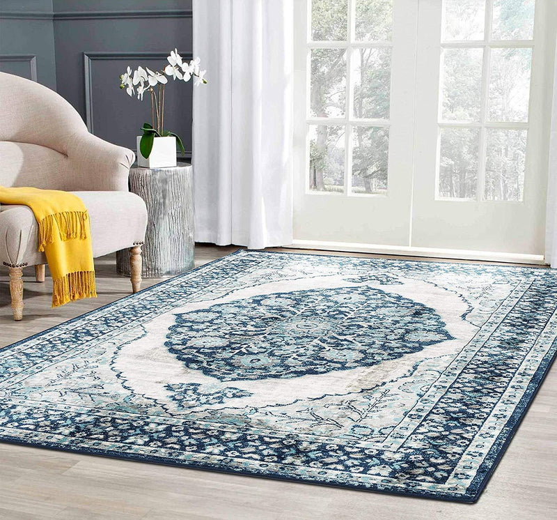 4631 Blue Bohemian Medallion Distressed Vintage Area Rugs