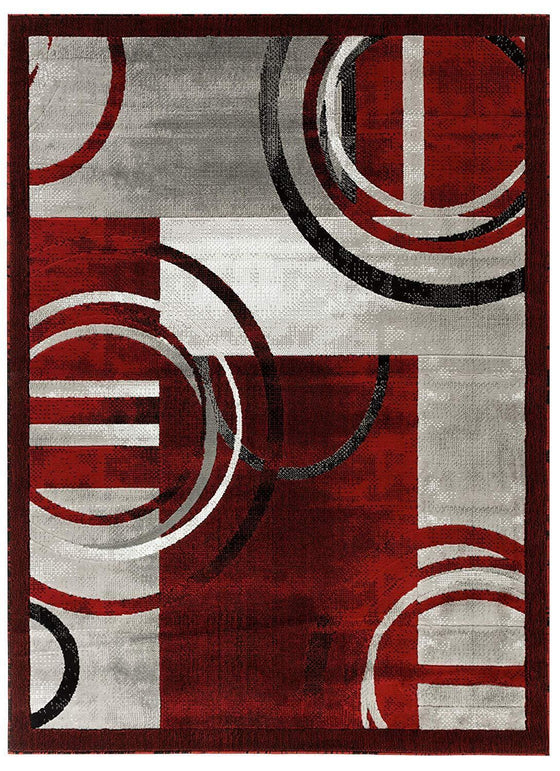 2102 Red Gray Geometric Contemporary Area Rugs