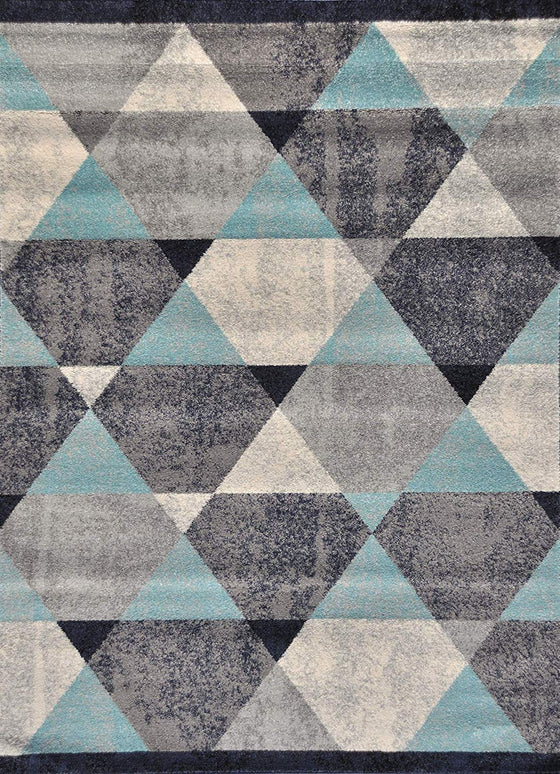 5054 Blue Distressed Contemporary Area Rugs