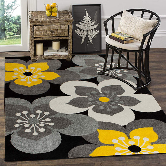 5043 Gray Yellow Floral Contemporary Area Rugs