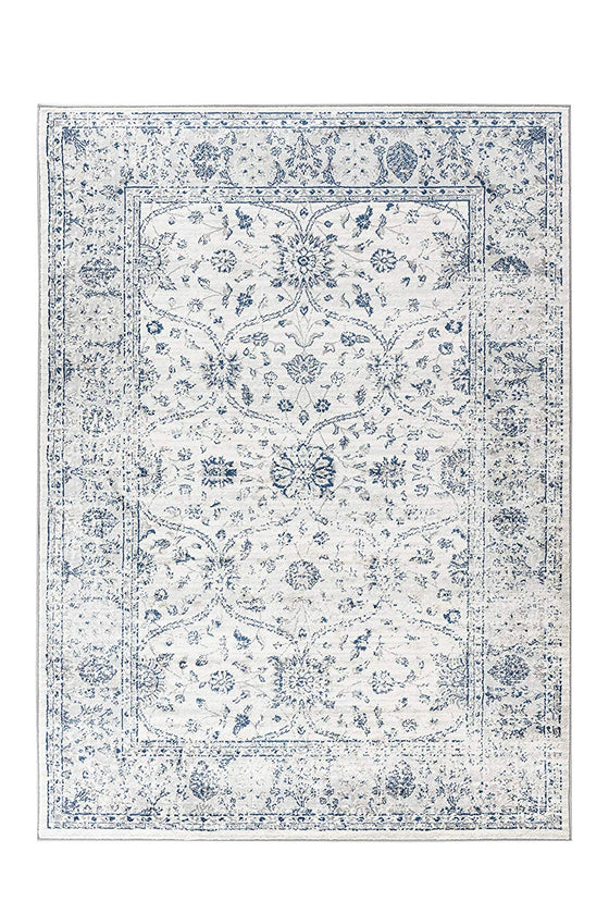 5052 Ivory Blue Distressed Farmhouse Oriental Area Rugs