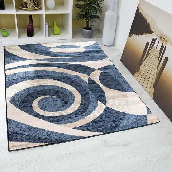 5061 Blue Geometric Abstract Contemporary Area Rugs
