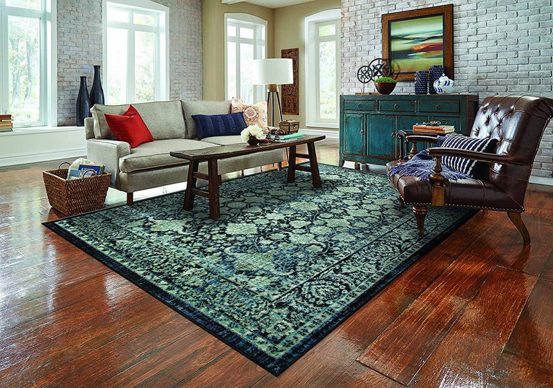 4637 Black Blue Distressed Oriental Area Rugs