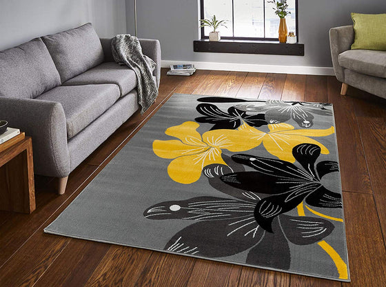 5022 Yellow Gray Floral Contemporary Area Rugs