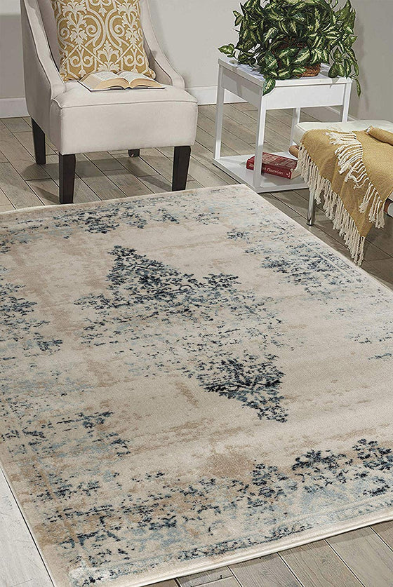 5038 Ivory Blue Mashad Distressed Oriental Area Rugs