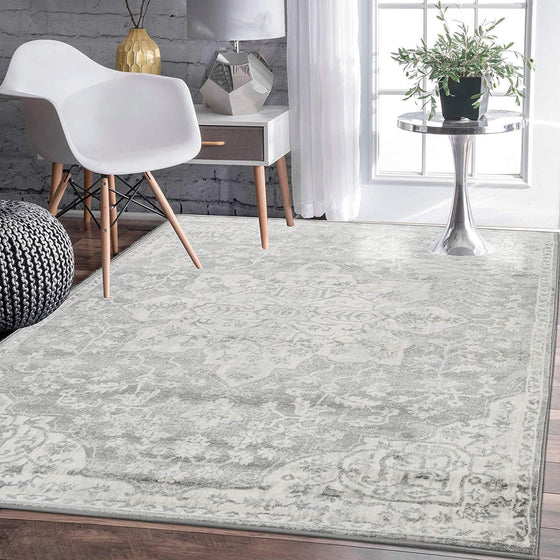 4641 Gray Medallion Distressed Oriental Area Rugs