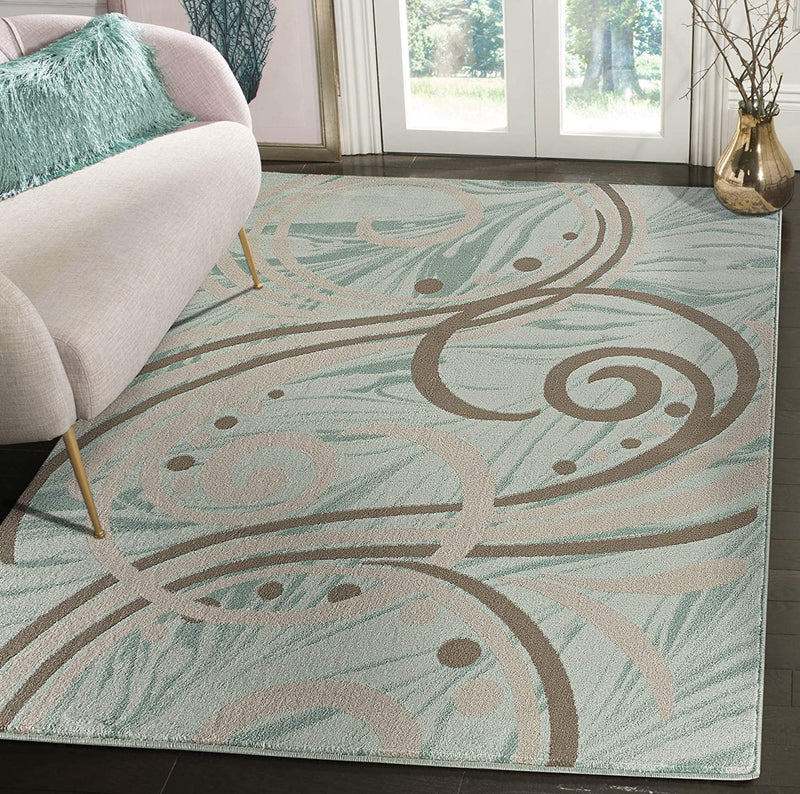 5198 Turquoise Swirls Abstract Contemporary Area Rugs