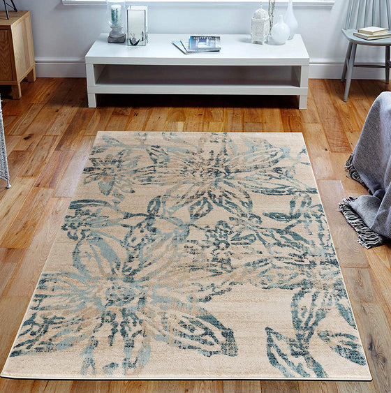 5047 Ivory Blue Floral Distressed Contemporary Area Rugs