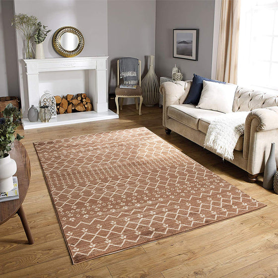 5042 Brown Boho Style Farmhouse Contemporary Area Rugs