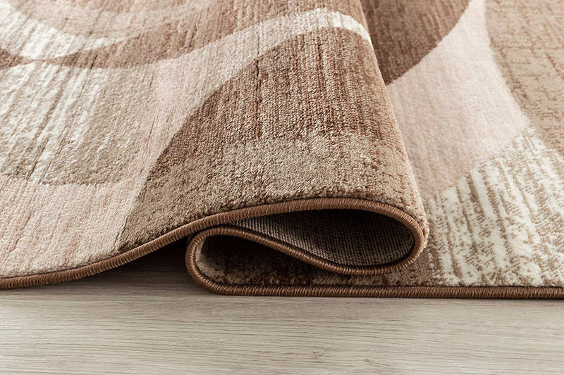 5046 Brown Ivory Geometric Contemporary Area Rugs