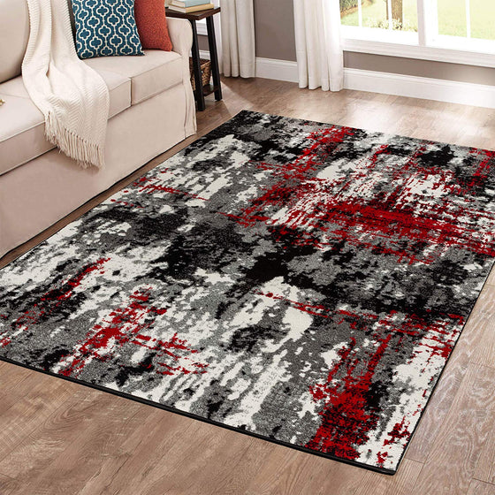5028 Gray Red Distressed Contemporary Area Rugs