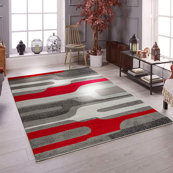 5036 Gray Red Abstract Contemporary Area Rugs