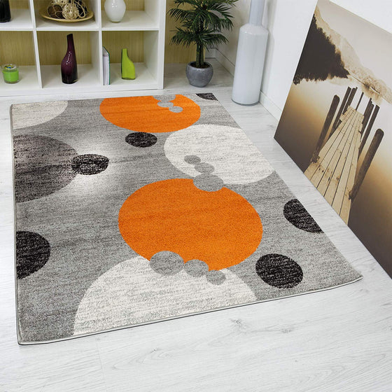 5029 Orange Gray Abstract Contemporary Area Rugs