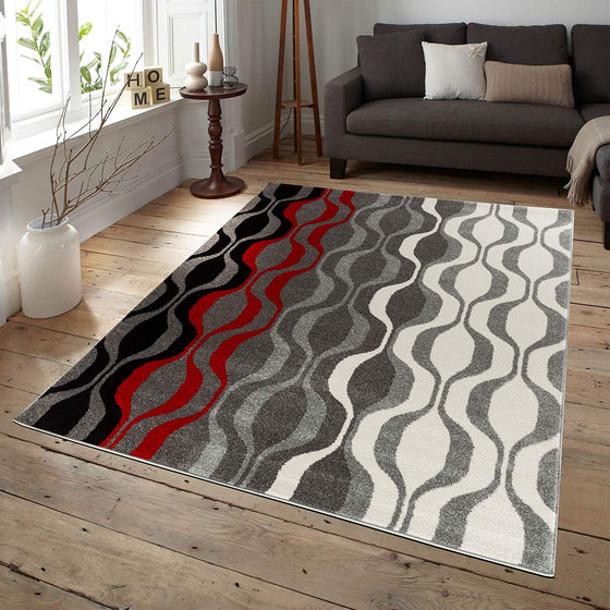 5048 Red Gray Abstract Contemporary Area Rugs