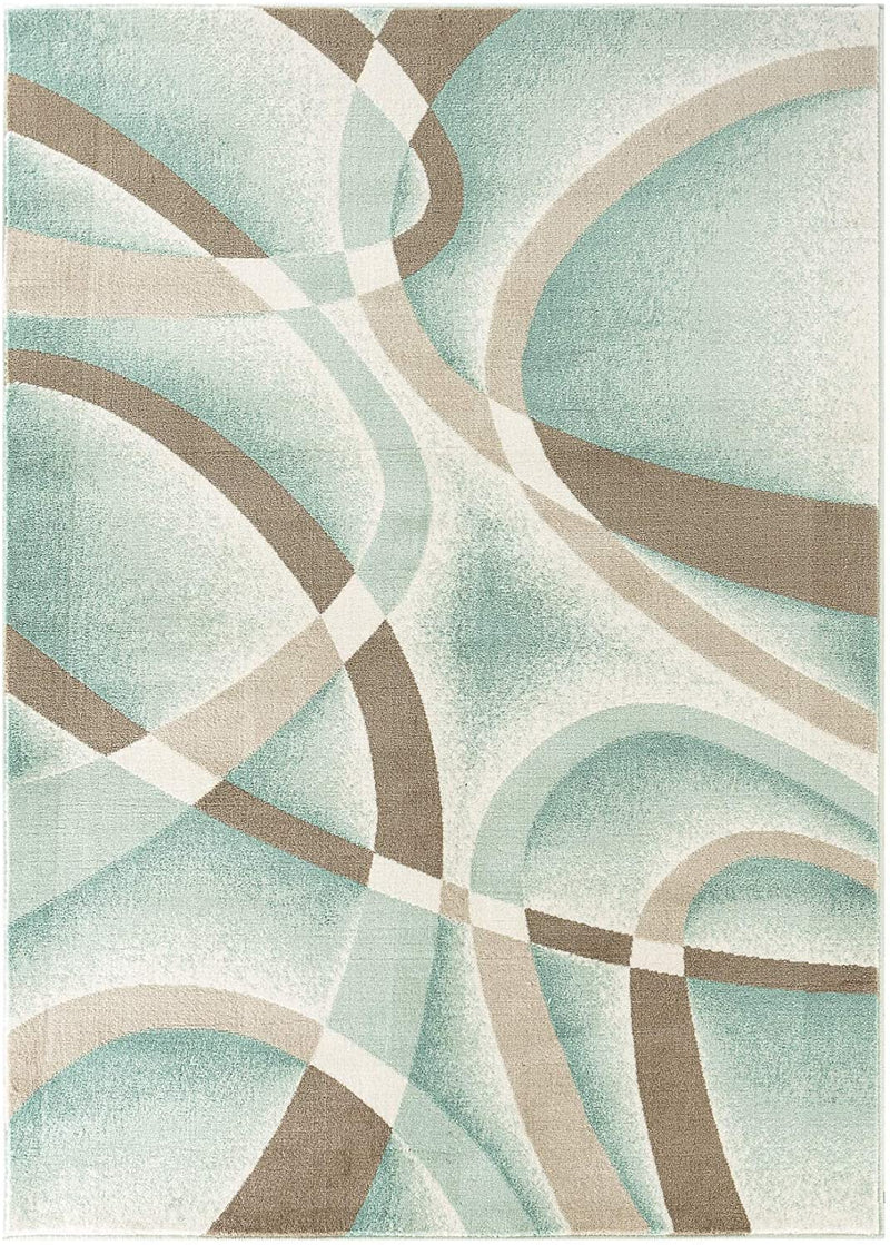 5195 Turquoise Abstract Contemporary Area Rugs