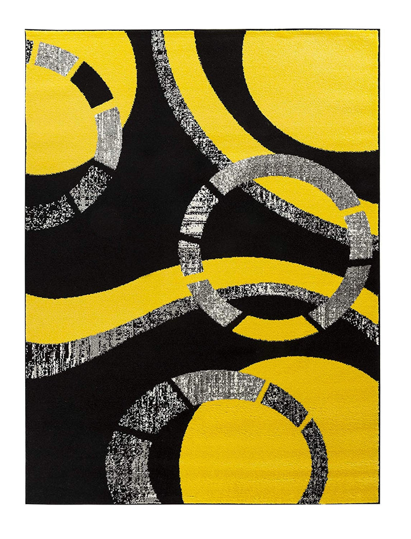 5019 Yellow Geometric Contemporary Area Rugs