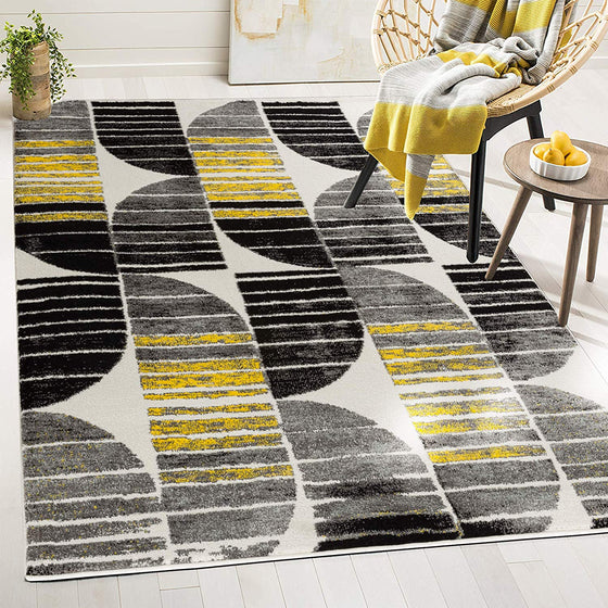 5040 Yellow Black Contemporary Area Rugs