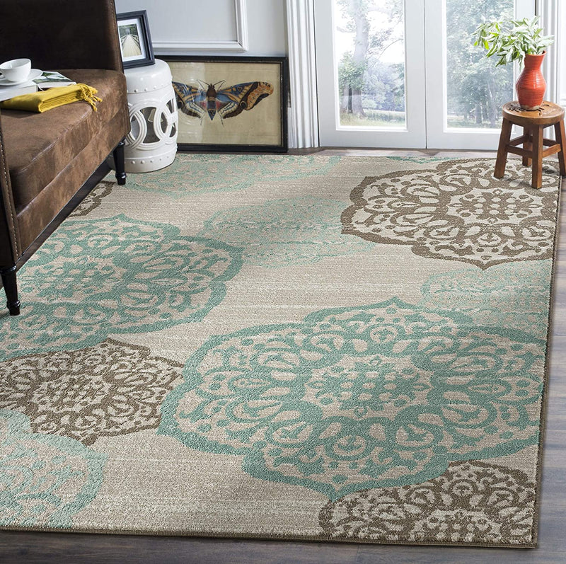 5193 Turquoise Medallion Contemporary Area Rugs