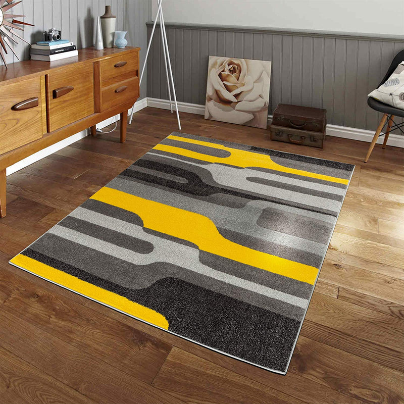 5036 Yellow Gray Abstract Contemporary Area Rugs