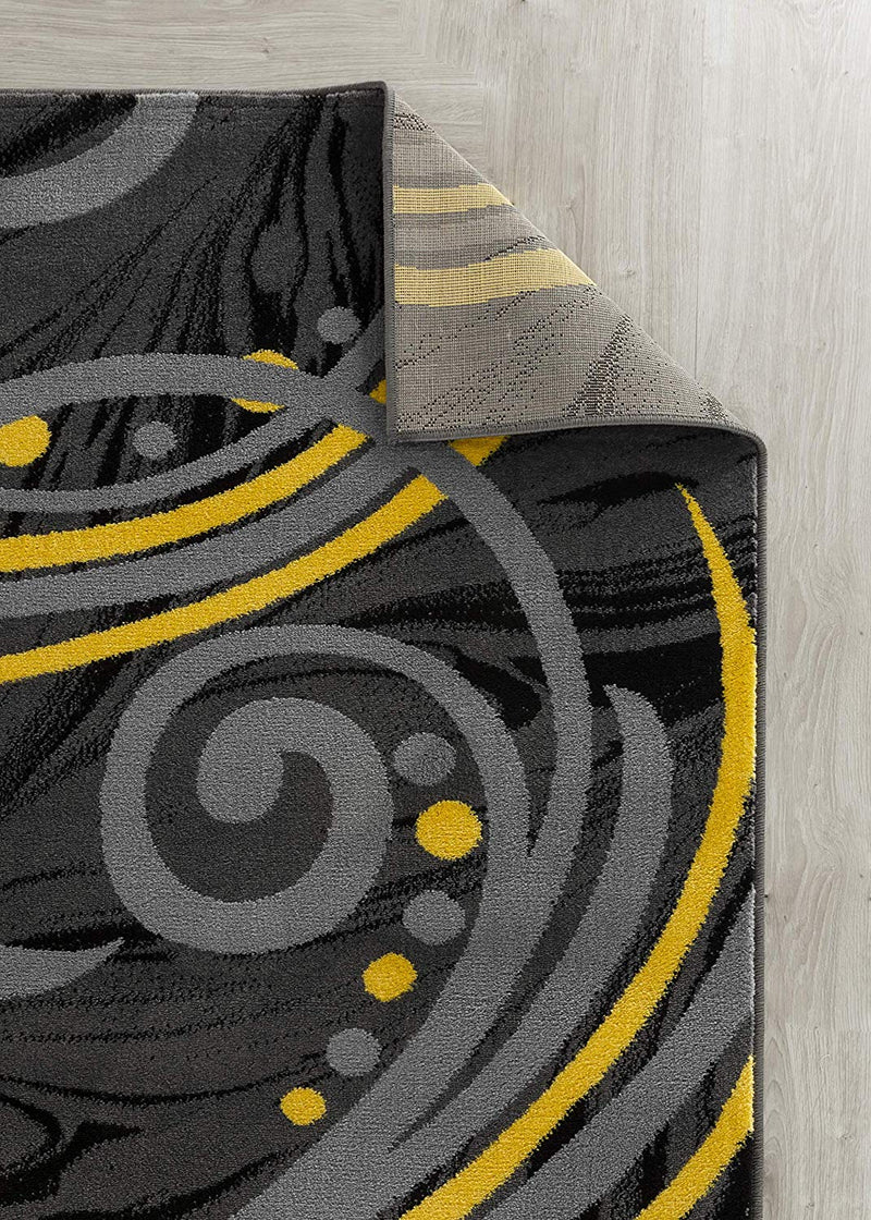 5027 Yellow Gray Abstract Contemporary Area Rugs