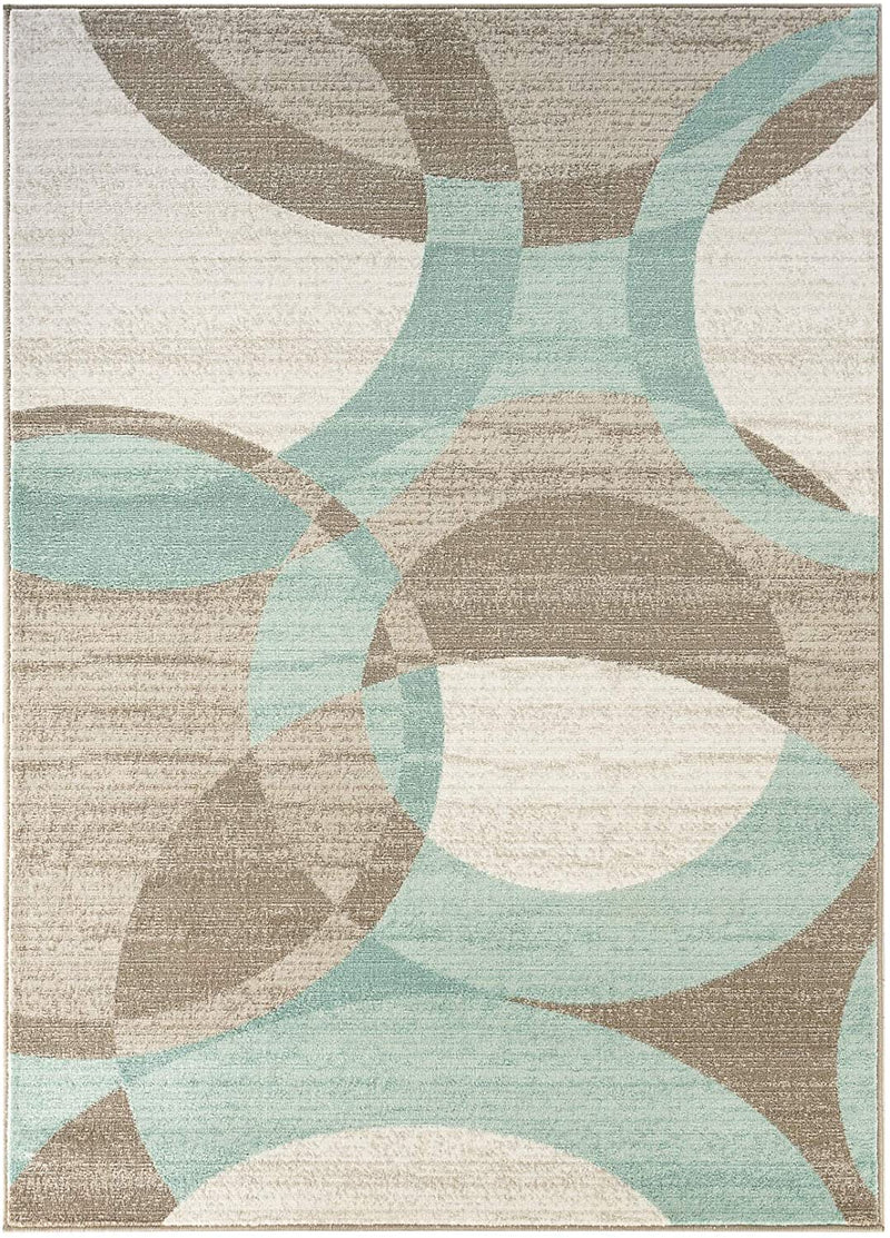 5192 Turquoise Geometric Contemporary Area Rugs