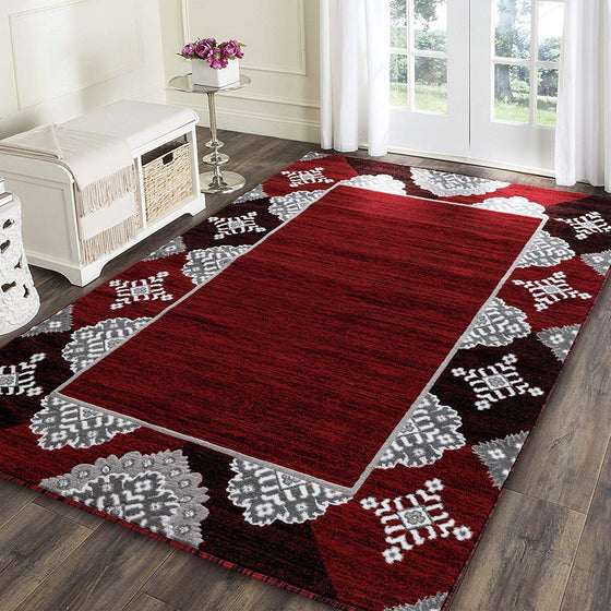 5055 Red Abstract Contemporary Area Rugs