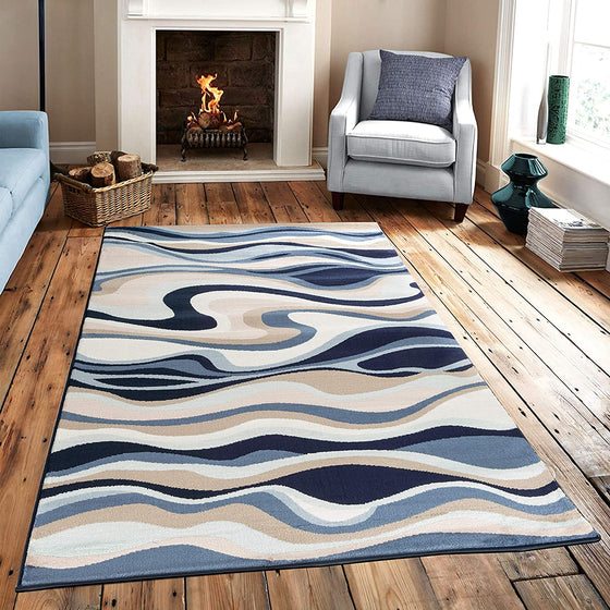 5080 Blue Abstract Contemporary Area Rugs