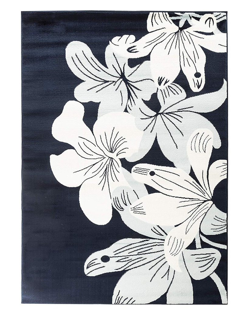 5022 Navy Blue Floral Contemporary Area Rugs