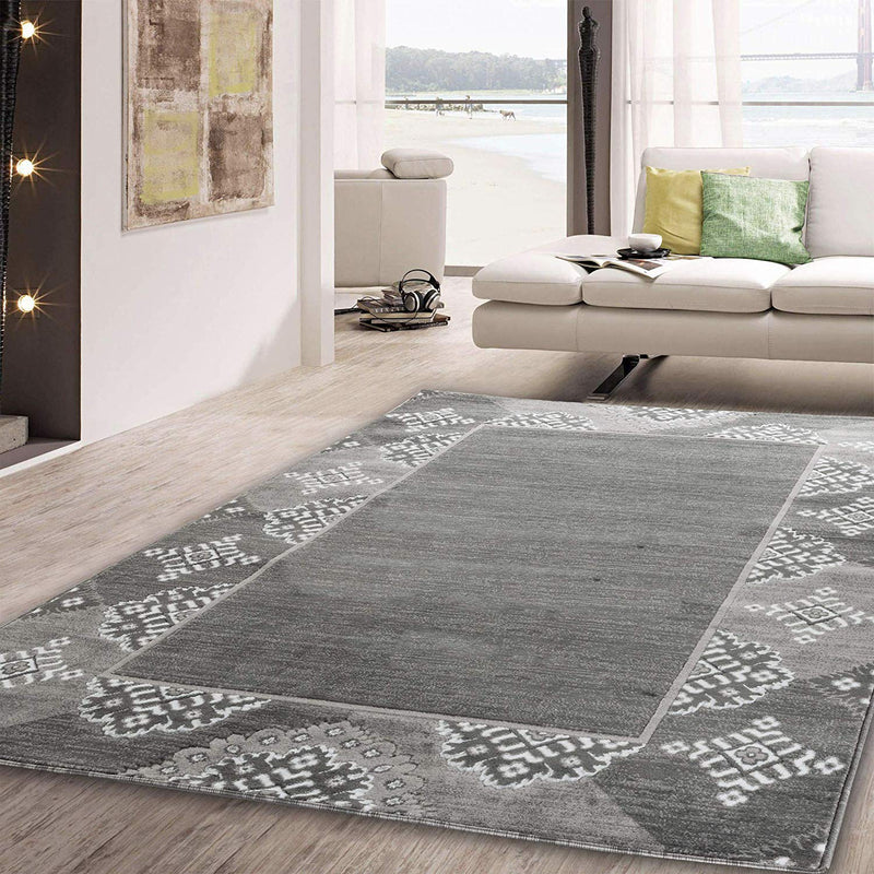5055 Gray Abstract Contemporary Area Rugs