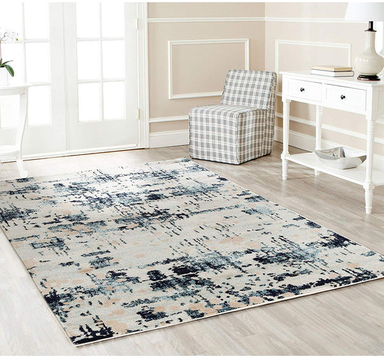 5049 Ivory Blue Distressed Contemporary Area Rugs