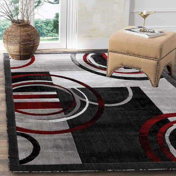 2102 Gray Red Circles Abstract Contemporary Area Rugs