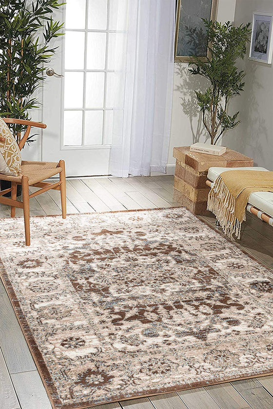 5032 Brown Medallion Distressed Oriental Area Rugs