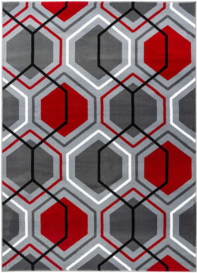 2075 Gray Red Geometric Contemporary Area Rugs