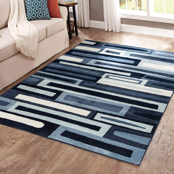 5043 Navy Blue Geometric Contemporary Area Rugs