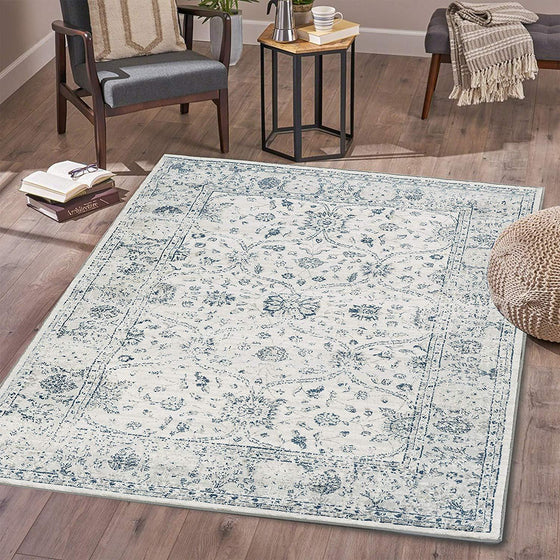 4636 Ivory Blue Distressed Oriental Area Rugs