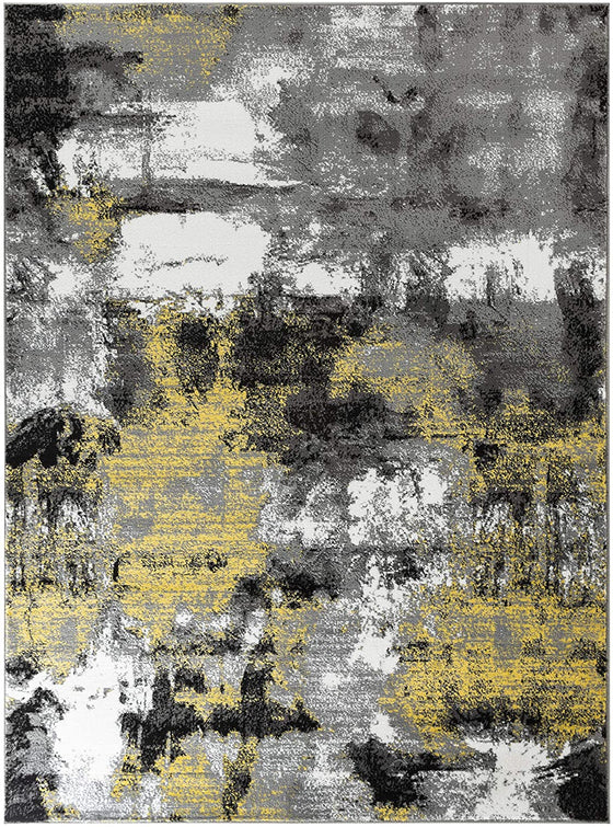 5009 Yellow Gray Distressed Contemporary Area Rugs