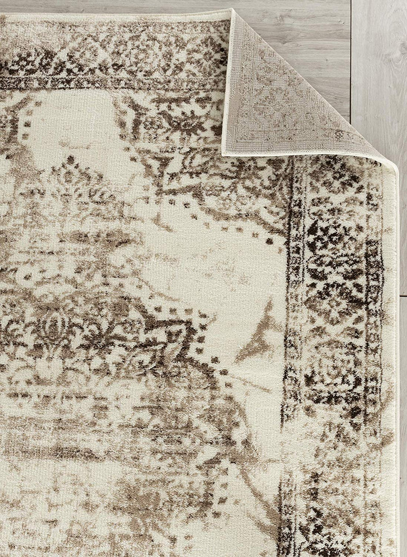 5041 Brown Ivory Medallion Distressed Oriental Area Rugs