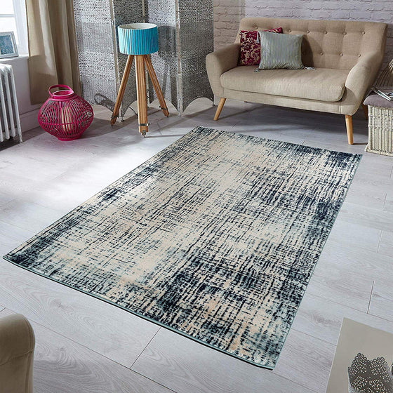 5030 Beige Blue Distressed Contemporary Area Rugs
