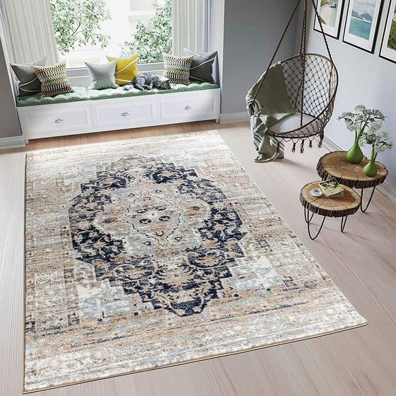 5033 Brown Medallion Distressed Oriental Area Rugs